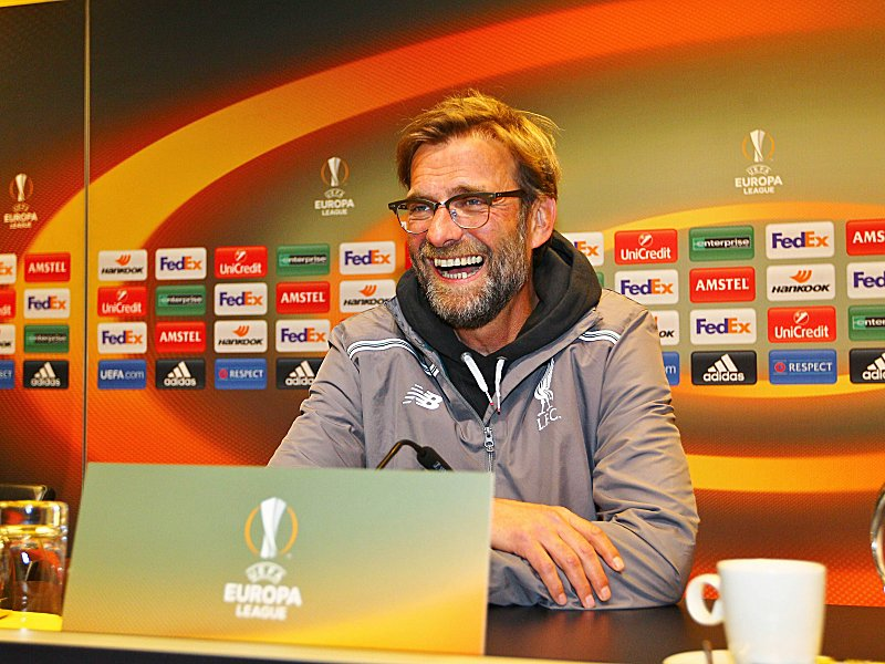 Jurgen Klopp manager of Liverpool smiles during the press conference PK Pressekonferenz before the U