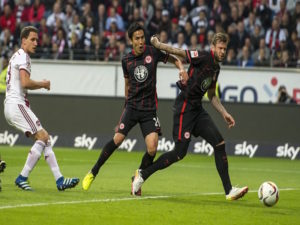 FRANKFURT AM MAIN, GERMANY - MAY 19: Marco Russ of Eintracht Frankfurt scores an own goal during the bundesliga playoff between Eintracht Frankfurt and 1. FC Nuernberg at Commerzbank-Arena on May 19, 2016 in Frankfurt am Main, Germany. (Photo by Alexander Scheuber/Bongarts/Getty Images)