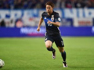 SUITA, JAPAN - JUNE 07:  Takuma Asano of Japan in action during the international friendly match between Japan and Bosnia and Herzegovina at the Suita City Football Stadium on June 7, 2016 in Suita, Osaka, Japan.  (Photo by Atsushi Tomura/Getty Images )