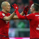 MUNICH, GERMANY - MARCH 02:  Arjen Robben (L) of Muenchen celebrates scoring the first team goal with his team mate Franck Ribery during the Bundesliga match between FC Bayern Muenchen and 1. FSV Mainz 05 at Allianz Arena on March 2, 2016 in Munich, Germany.  (Photo by Alexander Hassenstein/Bongarts/Getty Images)