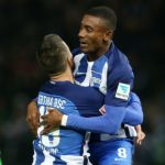 BERLIN, GERMANY - NOVEMBER 04:  OVEMBER 04:  Salomon Kalou (R) of Berlin jubilates with team mate Vedad Ibisevic after scoring the first goal during the Bundesliga match between Hertha BSC and Borussia Moenchengladbach at Olympiastadion on November 4, 2016 in Berlin, Germany.  (Photo by Matthias Kern/Bongarts/Getty Images)