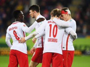 FREIBURG IM BREISGAU, GERMANY - NOVEMBER 25:  Marcel Sabitzer of RB Leipzig is congratulated by Emil Forsberg of RB Leipzig after scoring the fourth goal during the Bundesliga match between SC Freiburg and RB Leipzig at Schwarzwald-Stadion on November 25, 2016 in Freiburg im Breisgau, Germany.  (Photo by Matthias Hangst/Bongarts/Getty Images)