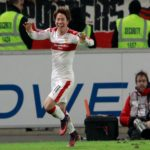 STUTTGART, GERMANY - NOVEMBER 28: Takuma Asano of Stuttgart celebrates his team's third goal during the Second Bundesliga match between VfB Stuttgart and 1. FC Nuernberg at Mercedes-Benz Arena on November 28, 2016 in Stuttgart, Germany.  (Photo by Adam Pretty/Bongarts/Getty Images)