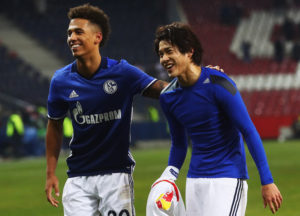 SALZBURG, AUSTRIA - DECEMBER 08:  Thilo Kehrer and Atsuto Uchida of Schalke look on at the end of the UEFA Europa League match between FC Salzburg and FC Schalke 04 at Red Bull Arena on December 8, 2016 in Salzburg, .  (Photo by Alexander Hassenstein/Bongarts/Getty Images)