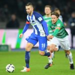 BERLIN, GERMANY - DECEMBER 10: Vedad Ibisevic of Hertha BSC and Clemens Fritz of Werder Bremen during the game between Hertha BSC and Werder Bremen on december 10, 2016 in Berlin, Germany. (Photo by City-Press via Getty Images)