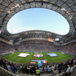 MARSEILLE, FRANCE - JULY 07:  A general view of the stadium as the players line up for the national anthems before the UEFA EURO semi final match between Germany and France at Stade Velodrome on July 7, 2016 in Marseille, France.  (Photo by Laurence Griffiths/Getty Images)
