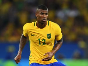RIO DE JANEIRO, BRAZIL - AUGUST 20:  Walace of Brazil in action during the Olympic Men's Final Football match between Brazil and Germany at Maracana Stadium on August 20, 2016 in Rio de Janeiro, Brazil.  (Photo by Stuart Franklin - FIFA/FIFA via Getty Images)
