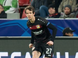 LEVERKUSEN, GERMANY - DECEMBER 07: Robbie Kruse of Leverkusen in action during the UEFA Champions League match between Bayer Leverkusen and AS Monaco at the BayArena in Leverkusen, Germany on December 7, 2016. (Photo by TF-Images/Getty Images)