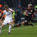 LEVERKUSEN, GERMANY - JANUARY 22:  Kevin Kampl of Leverkusen is challenges Genki Haraguchi of Berlin during the Bundesliga match between Bayer 04 Leverkusen and Hertha BSC at BayArena on January 22, 2017 in Leverkusen, Germany.  (Photo by Lars Baron/Bongarts/Getty Images)