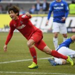 DARMSTADT, GERMANY - JANUARY 28: Yuya Osako of Koeln celebrates after scoring his team's first goal during the Bundesliga match between SV Darmstadt 98 and 1. FC Koeln at Stadion am Boellenfalltor on January 28, 2017 in Darmstadt, Germany.  (Photo by Matthias Hangst/Bongarts/Getty Images)