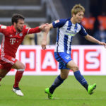 BERLIN, GERMANY - FEBRUARY 18: Juan Bernat of FC Bayern Muenchen and Genki Haraguchi of Hertha BSC during the game between Hertha BSC and FC Bayern Muenchen on February 18, 2017 in Berlin, Germany. (Photo by City-Press via Getty Images)