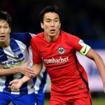 BERLIN, GERMANY - FEBRUARY 25: Genki Haraguchi (L) of Berlin and Makoto Hasebe of Frankfurt look on during the Bundesliga match between Hertha BSC and Eintracht Frankfurt at Olympiastadion on February 25, 2017 in Berlin, Germany.  (Photo by Stuart Franklin/Bongarts/Getty Images)