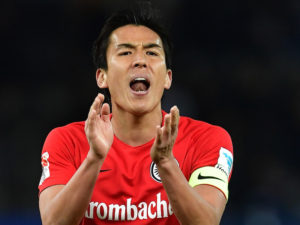 BERLIN, GERMANY - FEBRUARY 25:  Makoto Hasebe of Frankfurt  shouts during the Bundesliga match between Hertha BSC and Eintracht Frankfurt at Olympiastadion on February 25, 2017 in Berlin, Germany.  (Photo by Stuart Franklin/Bongarts/Getty Images)