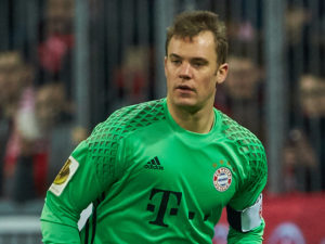 MUNICH, GERMANY - MARCH 01: Goalkeeper Manuel Neuer of Bayern Muenchen controls the ball during the DFB Cup quarter final between Bayern Muenchen and FC Schalke 04 at Allianz Arena on March 1, 2017 in Munich, Germany. (Photo by TF-Images/Getty Images)