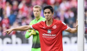 MAINZ, GERMANY - MARCH 04: Yoshinori Muto of Mainz 05 gestures during the Bundesliga match between 1. FSV Mainz 05 and VfL Wolfsburg at Opel Arena on March 4, 2017 in Mainz, Germany. (Photo by Alexander Scheuber/Bongarts/Getty Images)