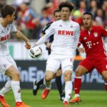 (l-r) Dominique Heintz of 1.FC Koln, Yuya Osako of 1.FC Koln,  Thiago of Bayern Munichduring the Bundesliga match between 1. FC Koln and Bayern Munich on March 04, 2017 at the RheinEnergie Stadium in Koln, Germany.(Photo by VI Images via Getty Images)