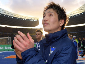BERLIN, GERMANY - MARCH 11: Genki Haraguchi of Hertha BSC after the Bundesliga match between Hertha BSC and Borussia Dortmund at the Olympiastadion on march 11, 2017 in Berlin, Germany. (Photo by City-Press via Getty Images)