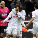 COLOGNE, GERMANY - MARCH 18:  Yuya Osako of Koeln celebrates after scoring his teams first goal during the Bundesliga match between 1. FC Koeln and Hertha BSC at RheinEnergieStadion on March 18, 2017 in Cologne, Germany.  (Photo by Maja Hitij/Bongarts/Getty Images)