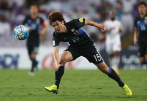 AL AIN CITY, UNITED ARAB EMIRATES - MARCH 23:  Yuya Osako of Japan in action during the FIFA 2018 World Cup qualifying match between United Arab Emirates and Japan at Hazza Bin Zayed Stadium on March 23, 2017 in Al Ain City, United Arab Emirates.  (Photo by Francois Nel/Getty Images,)