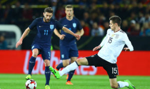 Adam Lallana of England and Julian Weigl of Germany in action during the International Friendly match between Germany and England played at Signal Iduna Park, Dortmund, Germany on 22nd March 2017 -------------------- Kieran  McManus / BPI Football - International Friendlies 2017 Germany v England Signal Iduna Park, Dortmund, Germany 22 March 2017 ©2017 Kieran  McManus / BPI all rights reserved