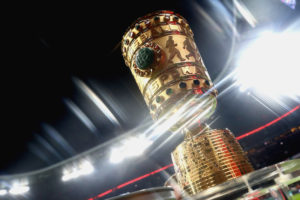 MUNICH, GERMANY - MARCH 01:  (EDITORS NOTE: A special effects camera filter was used for this image.) The Germany Cup winners trophy is displayed prior to the DFB Cup quarter final between Bayern Muenchen and FC Schalke 04 at Allianz Arena on March 1, 2017 in Munich, Germany.  (Photo by Alexander Hassenstein/Bongarts/Getty Images)