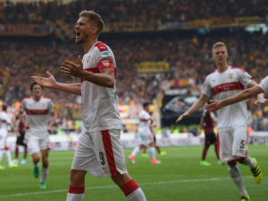 STUTTGART, GERMANY - APRIL 02:  Simon Terodde of Stuttgart celebrates scoring  his team's third goal from the penalty spot during the Second Bundesliga match between 1. FC Union Berlin and 1. FC Nuernberg at Stadion An der Alten Foersterei on April 2, 2017 in Stuttgart, Germany.  (Photo by Matthias Hangst/Bongarts/Getty Images)