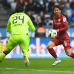 MUNICH, GERMANY - APRIL 05: Stefan Ortega of TSV 1860 Muenchen saves the ball against Takuma Asano of VfB Stuttgart during the Second Bundesliga match between TSV 1860 Muenchen and VfB Stuttgart at Allianz Arena on April 5, 2017 in Munich, Germany. (Photo by Lennart Preiss/Bongarts/Getty Images)