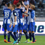 BERLIN, GERMANY - APRIL 09: (L-R) Vedad Ibisevic, Peter Pekarik,Niklas Stark, Salomon Kalou, Valentin Stocker and Per Skjelbred of Hertha BSC celebrate after scoring the 2:0 during the game between Hertha BSC and FC Augsburg on April 9, 2017 in Berlin, Germany. (Photo by City-Press via Getty Images)