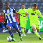 BERLIN, GERMANY - APRIL 09: Salomon Kalou of Hertha BSC and Takashi Usami of FC Augsburg during the game between Hertha BSC and FC Augsburg on April 9, 2017 in Berlin, Germany. (Photo by City-Press via Getty Images)