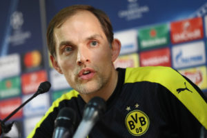 MONACO - APRIL 18:  Thomas Tuchel head coach of Borussia Dortmund speaks to the media during the Borussia Dortmund press conference at the Stade Louis II on April 18, 2017 in Monaco, Monaco.  (Photo by Alex Grimm/Bongarts/Getty Images)