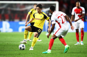 MONACO - APRIL 19:  Shinji Kagawa of Borussia Dortmund in action during the UEFA Champions League Quarter Final second leg match between AS Monaco and Borussia Dortmund at Stade Louis II on April 19, 2017 in Monaco, Monaco.  (Photo by Alex Grimm/Bongarts/Getty Images )