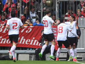 MUNICH, GERMANY - APRIL 22: Bojan Krkic (R) of 1. FSV Mainz 05 and his teammates celebrate the opening goal during the Bundesliga match between Bayern Muenchen and 1. FSV Mainz 05 at Allianz Arena on April 22, 2017 in Munich, Germany. (Photo by Lennart Preiss/Bongarts/Getty Images)