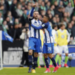 BERLIN, GERMANY - APRIL 22:  Vedad Ibisevic of Hertha BSC celebrates with team mate Allan of Hertha BSC after scoring his team's first goal during the Bundesliga match between Hertha BSC and VfL Wolfsburg at Olympiastadion on April 22, 2017 in Berlin, Germany.  (Photo by Boris Streubel/Bongarts/Getty Images)