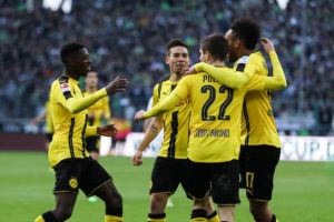 MOENCHENGLADBACH, GERMANY - APRIL 22: Pierre-Emerick Aubameyang of Dortmund (R) celebrates with his team-mates after scoring a goal to make it 2-2 during the Bundesliga match between Borussia Moenchengladbach and Borussia Dortmund at Borussia-Park on April 22, 2017 in Moenchengladbach, Germany. (Photo by Maja Hitij/Bongarts/Getty Images)