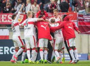 NUREMBERG, GERMANY - APRIL 29: Team of Stuttgart celebrates the 2:3 goal during the Second Bundesliga match between 1. FC Nuernberg and VfB Stuttgart at Arena Nuernberg on April 29, 2017 in Nuremberg, Germany. (Photo by Marc Mueller/Bongarts/Getty Images)