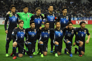 SAITAMA, JAPAN - MARCH 28:  Japanese players line up for the team photos prior to the 2018 FIFA World Cup Qualifier match between Japan and Thailand at Saitama Stadium on March 28, 2017 in Saitama, Japan.  (Photo by Hiroki Watanabe/Getty Images)