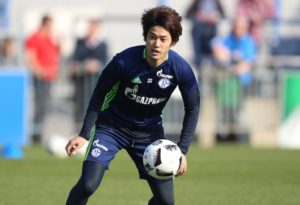 GELSENKIRCHEN, GERMANY - MARCH 28: Atsuto UCHIDA of Schalke controls the ball during a training session at the Schalke 04 Training center on March 28, 2017 in Gelsenkirchen, Germany. (Photo by TF-Images/Getty Images)