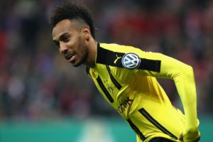 MUNICH, GERMANY - APRIL 26:  Pierre-Emerick Aubameyang of Dortmund  looks on during the DFB Cup semi final match between FC Bayern Muenchen and Borussia Dortmund at Allianz Arena on April 26, 2017 in Munich, Germany.  (Photo by Alexander Hassenstein/Bongarts/Getty Images)