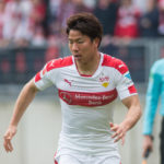 NUREMBERG, GERMANY - APRIL 29: Takuma Asano of Stuttgart with ball during the Second Bundesliga match between 1. FC Nuernberg and VfB Stuttgart at Arena Nuernberg on April 29, 2017 in Nuremberg, Germany. (Photo by Marc Mueller/Bongarts/Getty Images)