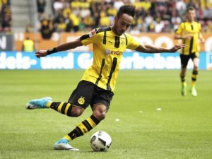 AUGSBURG, GERMANY - MAY 13:  Pierre-Emerick Aubameyang of Borussia Dortmund in action during the Bundesliga match between FC Augsburg and Borussia Dortmund at WWK Arena on May 13, 2017 in Augsburg, Germany.  (Photo by Adam Pretty/Bongarts/Getty Images)