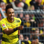 DORTMUND, GERMANY - MAY 20:  Pierre-Emerick Aubameyang of Borussia Dortmund celebrates scoring his teams fourth goal of the game during the Bundesliga match between Borussia Dortmund and Werder Bremen at Signal Iduna Park on May 20, 2017 in Dortmund, Germany.  (Photo by Dean Mouhtaropoulos/Bongarts/Getty Images)