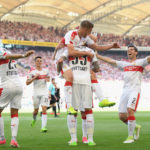 STUTTGART, GERMANY - MAY 21:  Simon Terodde (top) of Stuttgart celebrates scoring the 2nd team goal with his team mate Daniel Ginczek during the Second Bundesliga match between VfB Stuttgart and FC Wuerzburger Kickers at Mercedes-Benz Arena on May 21, 2017 in Stuttgart, Germany.  (Photo by Matthias Hangst/Bongarts/Getty Images)