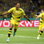 BERLIN, GERMANY - MAY 27:  Pierre-Emerick Aubameyang of Dortmund celebrates after scoring his team's second goal from the penalty spot during the DFB Cup final match between Eintracht Frankfurt and Borussia Dortmund at Olympiastadion on May 27, 2017 in Berlin, Germany.  (Photo by Alex Grimm/Bongarts/Getty Images)