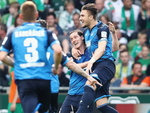 BREMEN, GERMANY - MAY 13:  Ermin Bicakcic (R) of Hoffenheim celebrates after scoring their first goal during the Bundesliga match between Werder Bremen and TSG 1899 Hoffenheim at Weserstadion on May 13, 2017 in Bremen, Germany.  (Photo by Oliver Hardt/Bongarts/Getty Images)